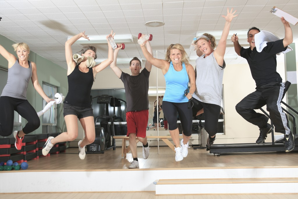 Gym and Fitness. A happy group of people
