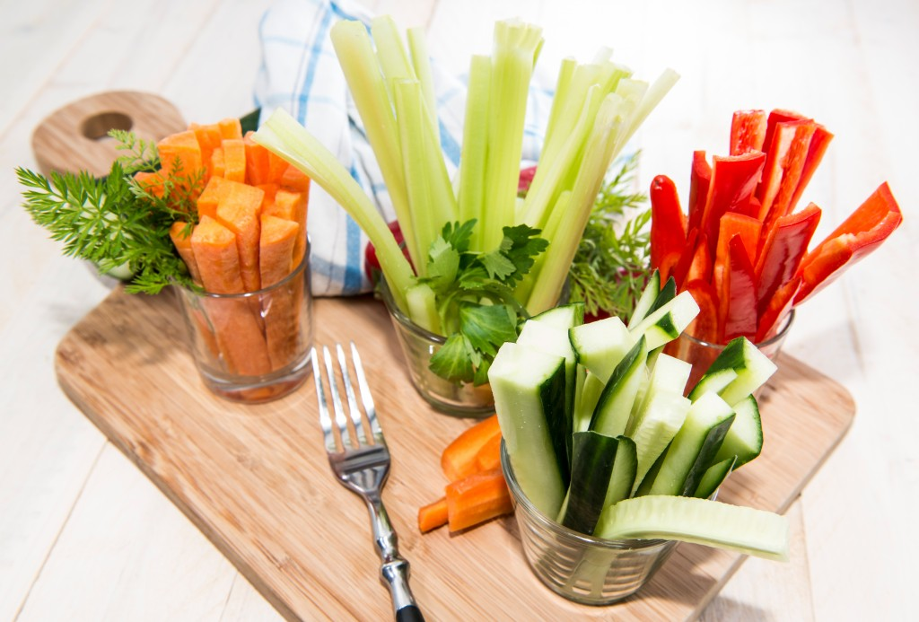 Mixed Vegetables (Celery, Cucumber, Red Pepper and Carrots) in small glasses